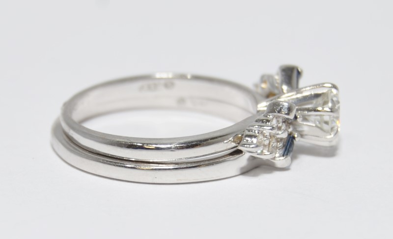 14K White Gold Diamond & Baquette Sapphire Wedding Engagement Ring Set Size:6