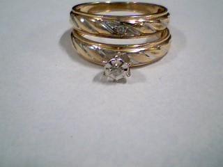 Lady's Diamond Wedding Set 2 Diamonds .02 Carat T.W. 10K Yellow Gold 4.2g