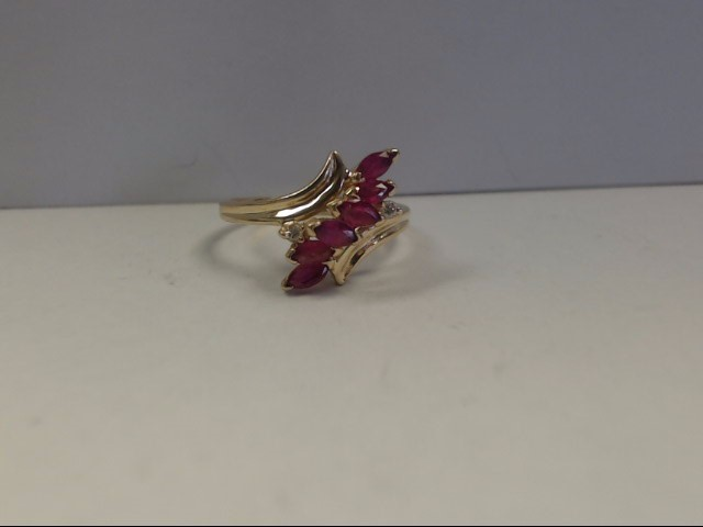 Ruby Lady's Stone & Diamond Ring 2 Diamonds .04 Carat T.W. 14K Yellow Gold
