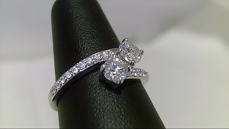 Lady's Gold-Diamond Anniversary Ring 20 Diamonds .87 Carat T.W. 14K White Gold