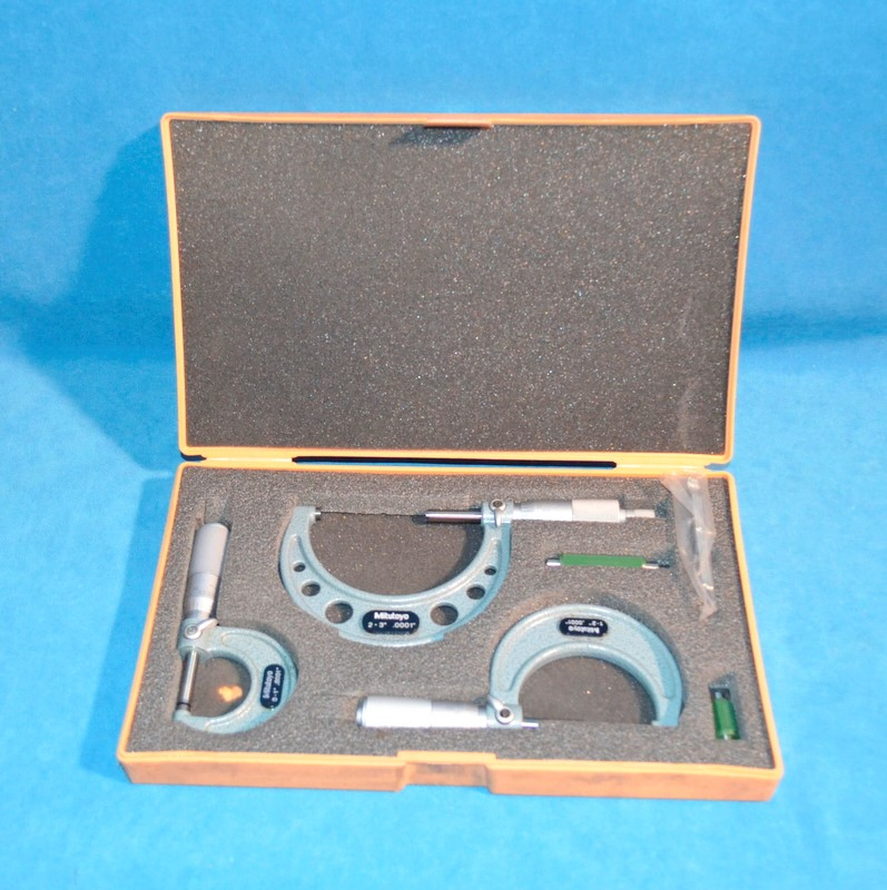 "MITUTOYO 103-922 0-3"" 3PC MICROMETER SET"