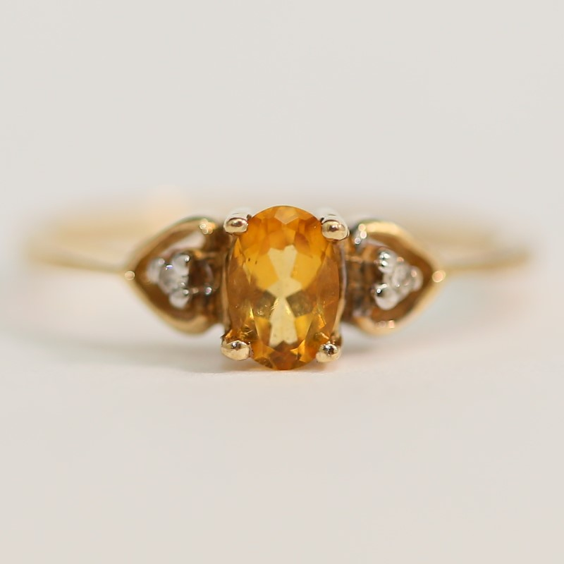 Oval Cut Citrine and Heart Shaped Brilliant Diamond Ring Size 6
