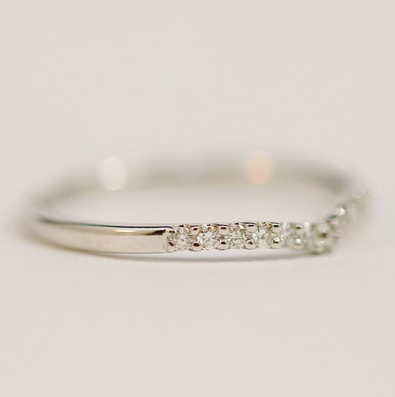 Twisted 14K W/G Round Brilliant Diamond Wedding Ring Set Size 6