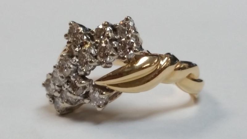Lady's Diamond Fashion Ring 14 Diamonds .70 Carat T.W. 14K Yellow Gold 6.3g