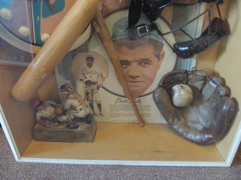 """Vintage Shadow Box "" History of Baseball "" Display Frame Wall"