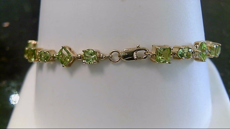"7"" Synthetic Peridot Gold-Stone Bracelet 10K Yellow Gold 7.8g"