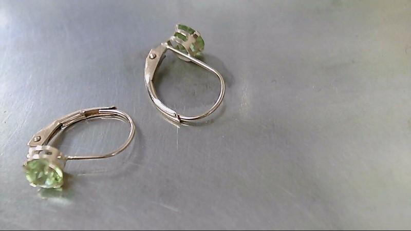 Green Stone Gold-Stone Earrings 10K Yellow Gold 0.8g