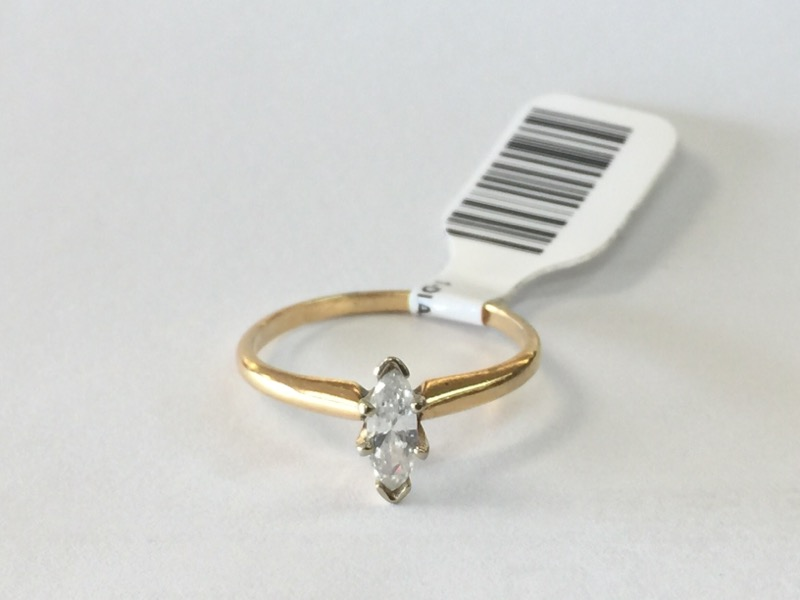 1-DIA._MARQUISE Lady's Diamond Solitaire Ring .20 CT. 14K Yellow Gold 1.2dwt