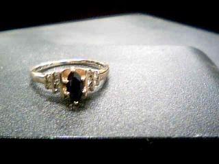 Black Stone Lady's Stone & Diamond Ring 10 Diamonds .10 Carat T.W.