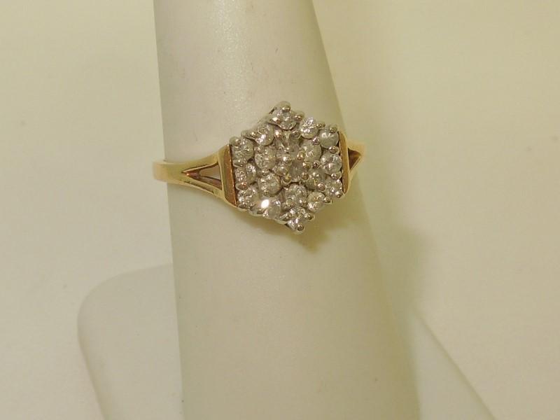 Lady's Diamond Cluster Ring 19 Diamonds .38 Carat T.W. 14K Yellow Gold 2.8g