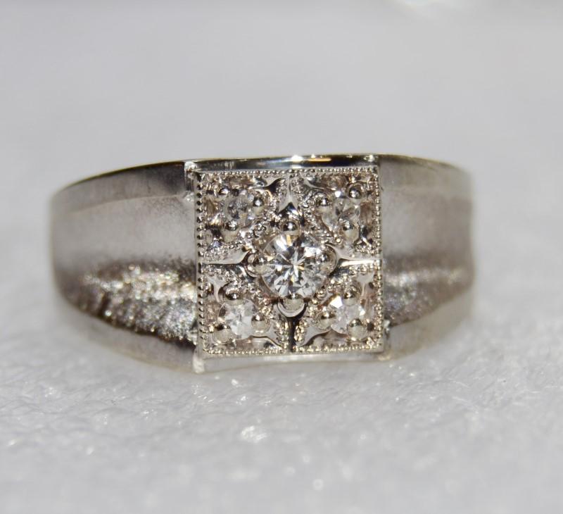 Men's 14K White Gold Textured Diamond Cluster Ring Size 11