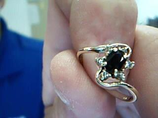 Sapphire Lady's Stone & Diamond Ring 5 Diamonds .15 Carat T.W. 14K Yellow Gold