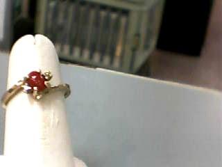 Carnelian Lady's Stone & Diamond Ring 2 Diamonds .02 Carat T.W. 10K Yellow Gold