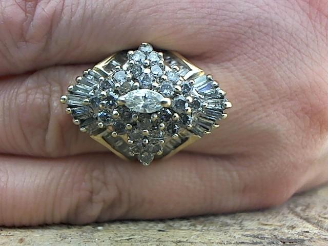 Lady's Diamond Cluster Ring 75 Diamonds 2.01 Carat T.W. 14K Yellow Gold 7.9g