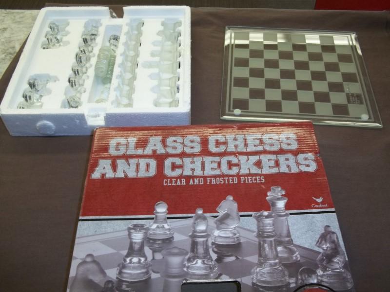GLASS CHESS/CHECKERS SET