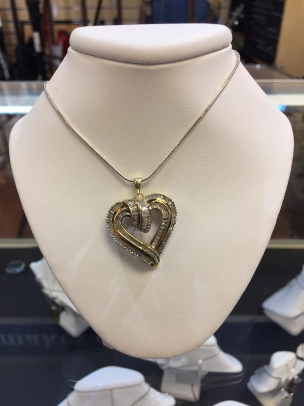 Silver-Diamond Pendant 122 Diamonds 3.66 Carat T.W. 925 Silver 9g