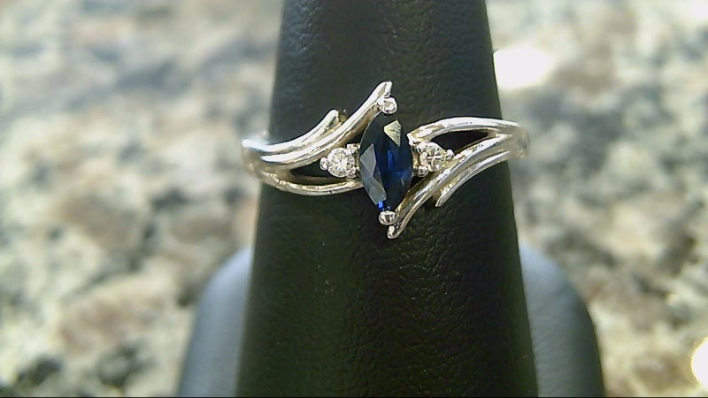 Sapphire Lady's Stone & Diamond Ring 2 Diamonds .02 Carat T.W. 14K White Gold