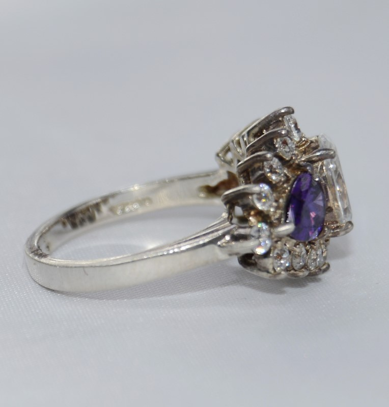Sterling Silver Pear Amethyst Three Stone Ring Size 7