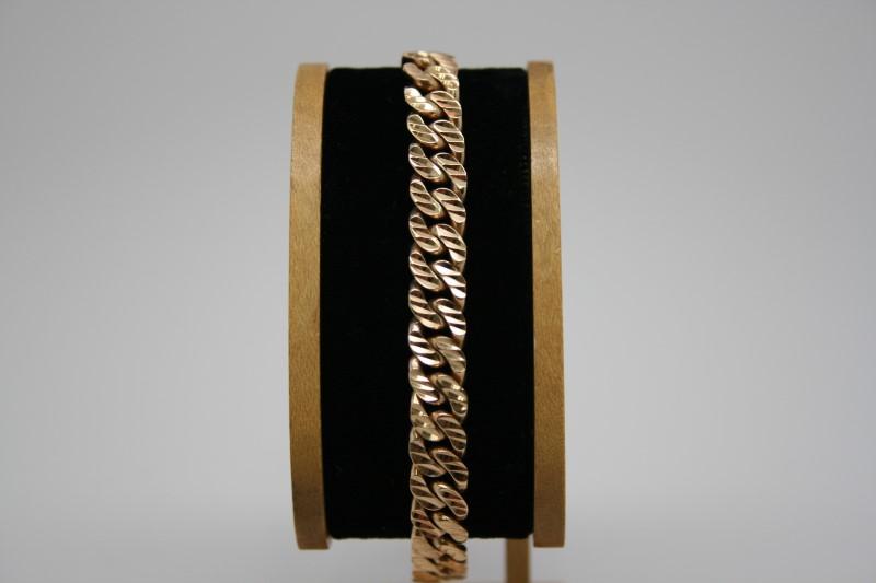 "CURB LINK DIAMOND CUT BRACELET 18K YELLOW GOLD 7"""