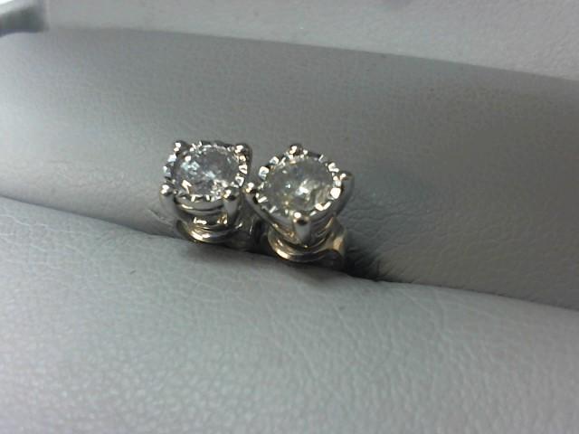 Gold-Diamond Earrings 2 Diamonds .46 Carat T.W. 14K White Gold 1.4g