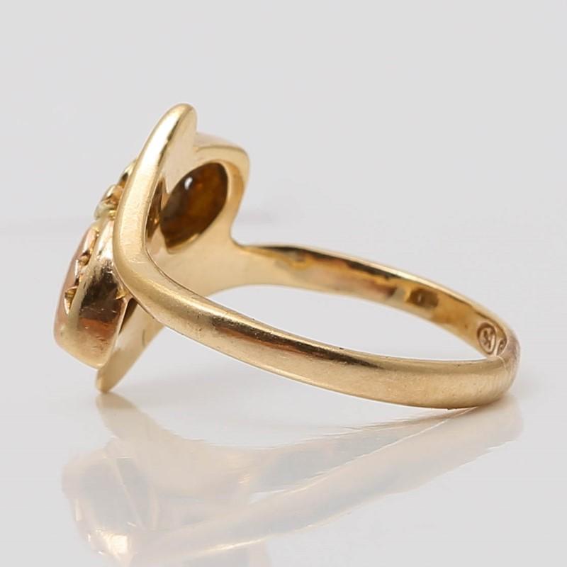 10K Yellow & Rose Gold Leaf Ring Size 3.25