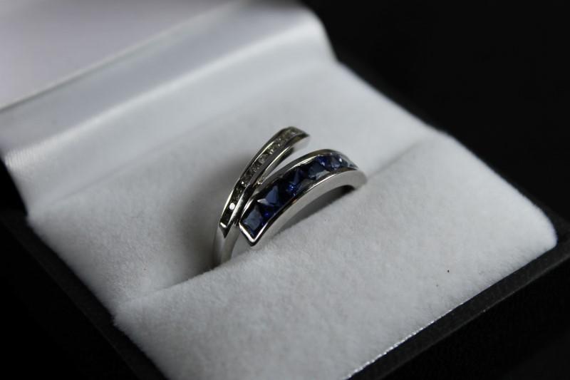 Light to Dark Princess Cut Sapphire & Diamond Ring