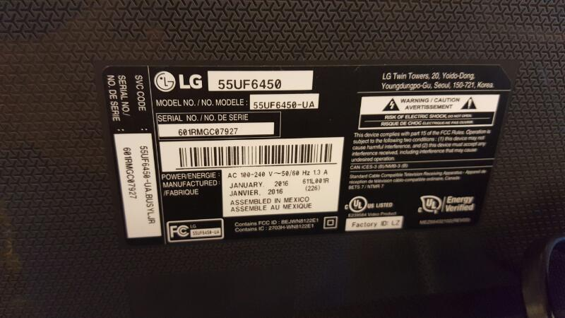 LG Flat Panel Television 55UF6450