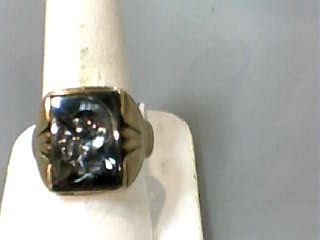 Hematite Gent's Stone Ring 10K Yellow Gold 5.3dwt Size:9.7