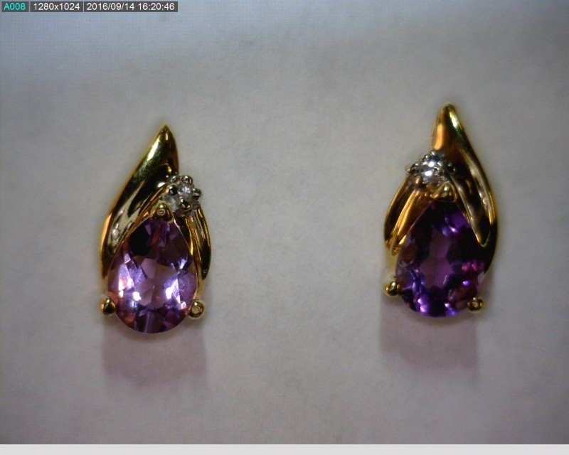 Purple Stone Gold-Stone Earrings 14K Yellow Gold 1.28dwt
