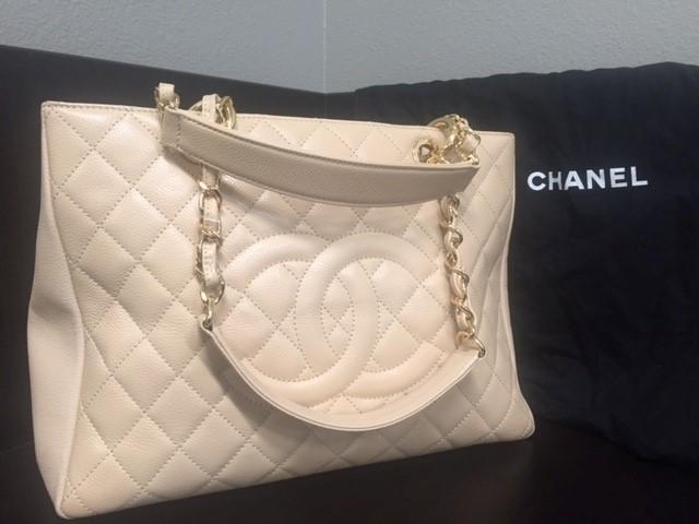 CHANEL Handbag WHITE CAVIAR GRAND SHOPPING TOTE GST