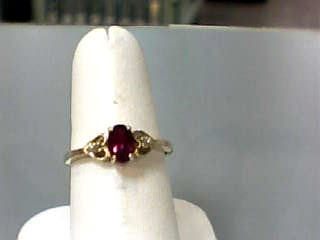 Synthetic Ruby Lady's Stone Ring 10K Yellow Gold 1dwt Size:6.5