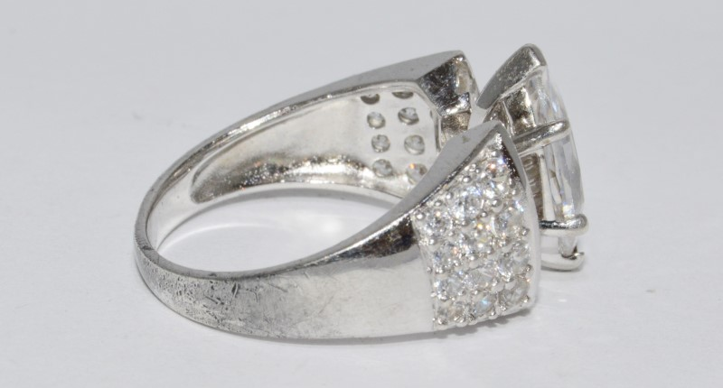 Sterling Silver Recessed Tapered Band Marquise CZ Pave Style Engagement Ring s 8