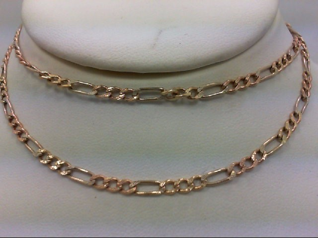 "22"" Gold Figaro Chain 14K Tri-color Gold 5.2g"