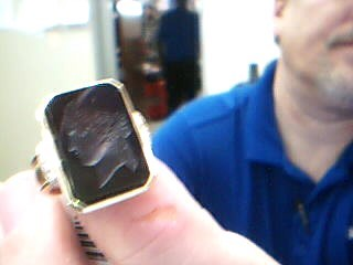 Onyx Lady's Stone & Diamond Ring 12 Diamonds .36 Carat T.W. 18K Yellow Gold