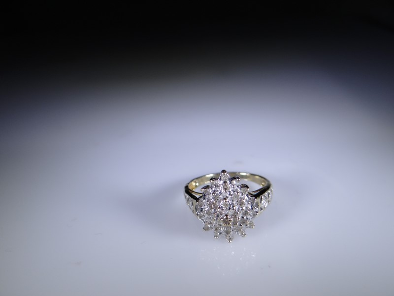 Lady's Diamond Cluster Ring 32 Diamonds .32 Carat T.W. 10K Yellow Gold 2.18g