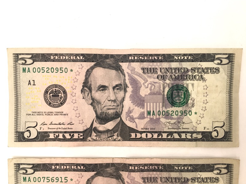 2013 $5 Five Dollars STAR Note - BOSTON Serial No. - Lot of 2
