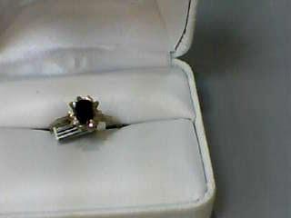 Sapphire Lady's Stone & Diamond Ring 10 Diamonds .10 Carat T.W. 10K Yellow Gold