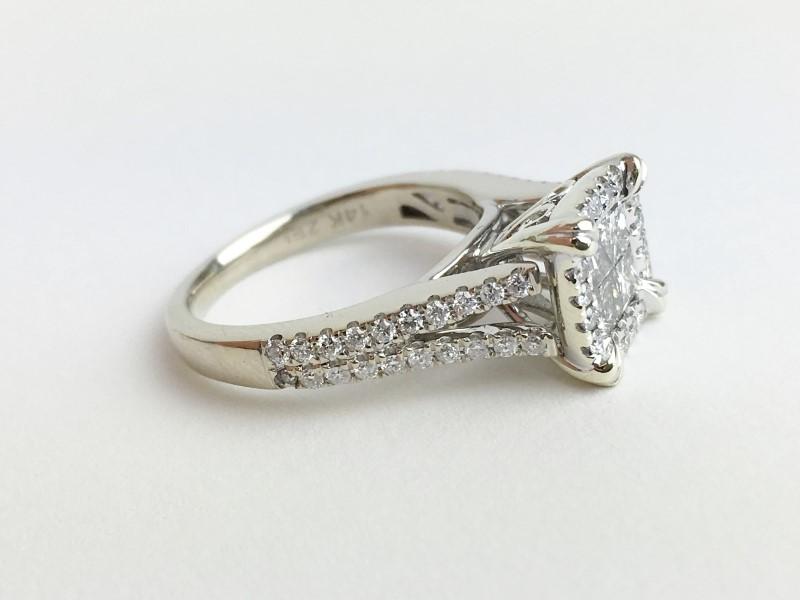 Lady's Diamond Engagement Ring 1.00 Carat T.W. 14K White Gold 4.62g