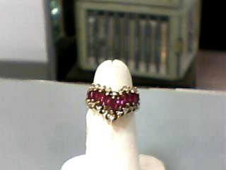 Ruby Lady's Stone & Diamond Ring 18 Diamonds .18 Carat T.W. 14K Yellow Gold