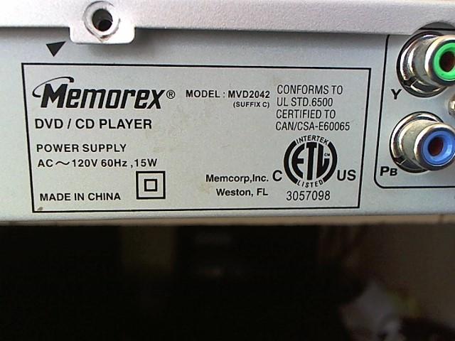 MEMOREX DVD Player MVD2042