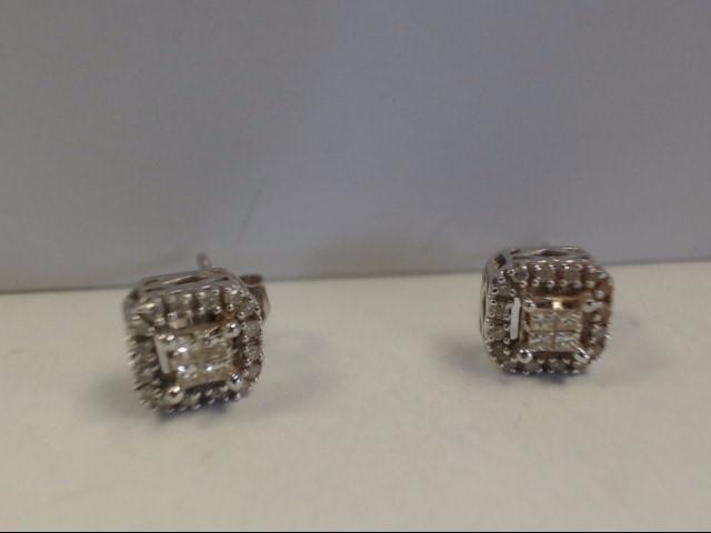 Gold-Diamond Earrings 40 Diamonds .40 Carat T.W. 10K White Gold 1.56g