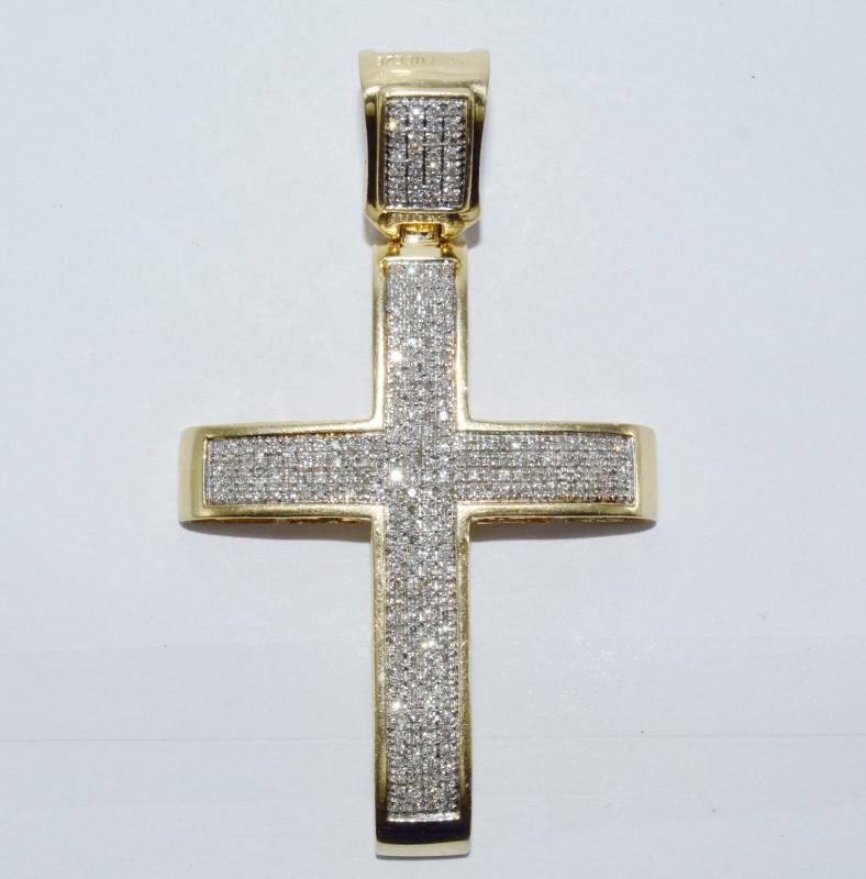 Men's 14K Yellow Gold Invisible Set Diamond Encrusted Cross Pendant