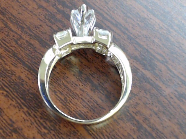 ESTATE MARQUISE CZ ENGAGE WED RING SOLID REAL 10K GOLD SIZE 6.75