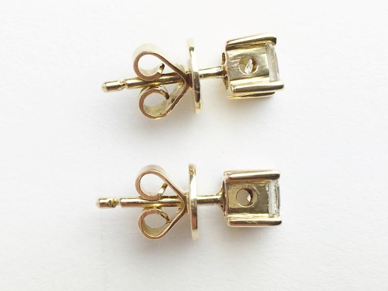 Gold-Diamond Earrings 2 Diamonds .64 Carat T.W. 14K Yellow Gold 2.46g