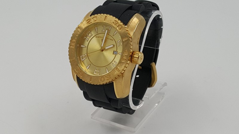 Swiss Legend Men's Gold Toned Stainless Steel w Black Rubber Band