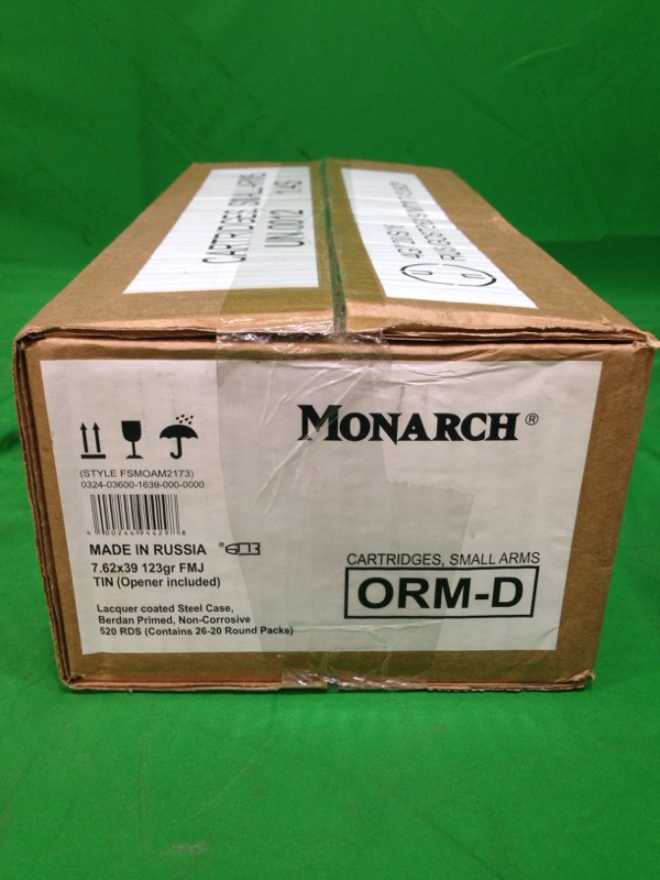 MONARCH AMMO 7.62X39 520rds 123gr FMJ
