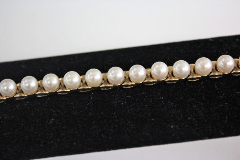 Pearl Gold-Stone Bracelet 14K Yellow Gold 14.3g