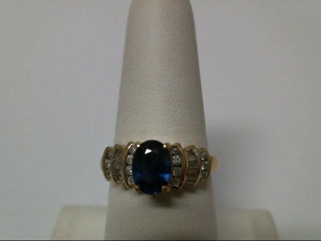 Blue Stone Lady's Stone & Diamond Ring 26 Diamonds .40 Carat T.W.