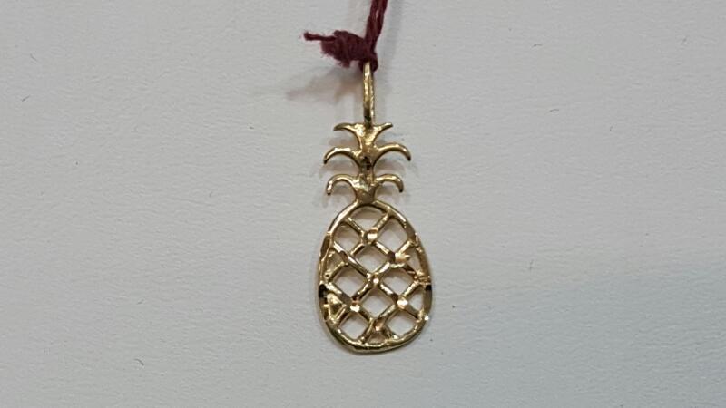 Gold Pineapple Pendant 14K, Yellow Gold 0.5g