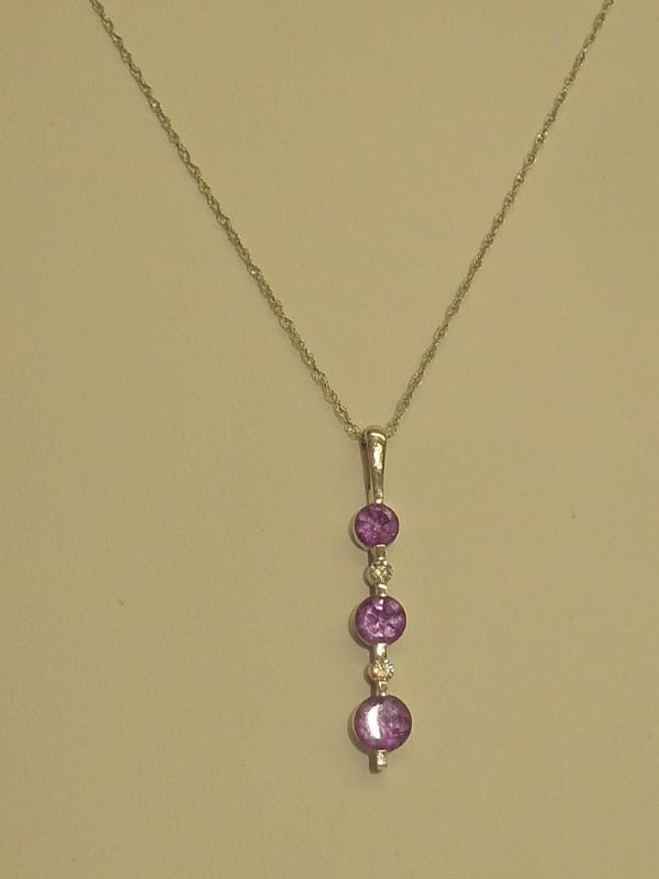 Synthetic Amethyst Diamond & Stone Necklace 2 Diamonds .02 Carat T.W.